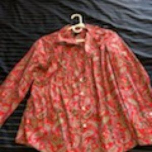 LandEnd Red Paisley Blouse